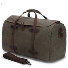 Load image into Gallery viewer, Weekender Bag - Waxed Canvas and Genuine Leather - trendyful