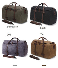 Load image into Gallery viewer, Weekender Bag - Waxed Canvas and Genuine Leather, Weekender Bag - Waxed Canvas and Genuine Leather - trendyful