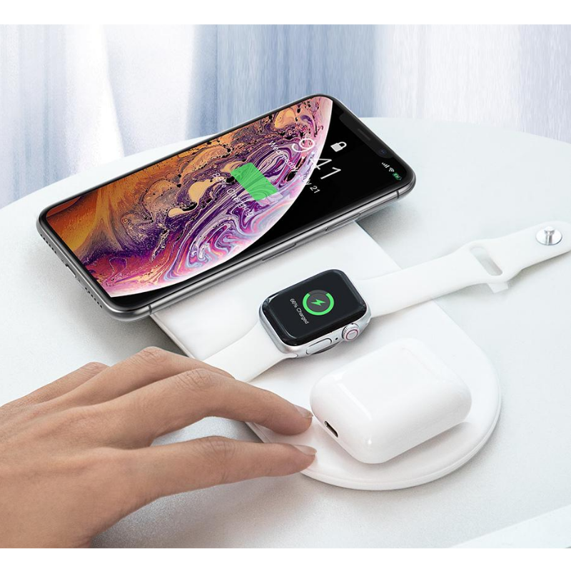 Baseus 3-in-1 Wireless Charging Pad, Fast Wireless Charger - trendyful