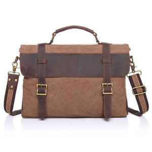 Chester Leather & Canvas Messenger Bag | Satchel | Shoulder Bag, Canvas Messenger Bag - trendyful