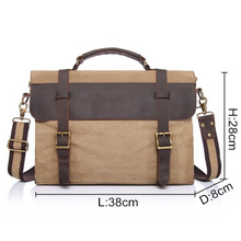 Load image into Gallery viewer, Chester Leather & Canvas Messenger Bag | Satchel | Shoulder Bag - trendyful