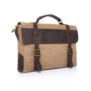 Chester Leather & Canvas Messenger Bag | Satchel | Shoulder Bag - trendyful