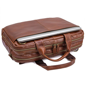 Norfolk Genuine Leather Messenger Bag - trendyful