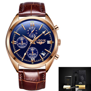 LIGE Men's Luxury Business Watch Genuine Leather Band, Watch - trendyful