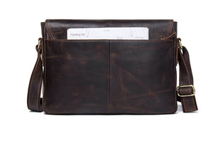 Vintage Leather Messenger Satchel - trendyful