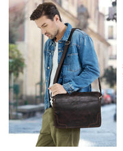 Load image into Gallery viewer, Vintage Leather Messenger Satchel - trendyful