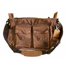 Load image into Gallery viewer, Tyrone Canvas & Leather Messenger Bag | Shoulder Bag, Canvas Messenger Bag - trendyful