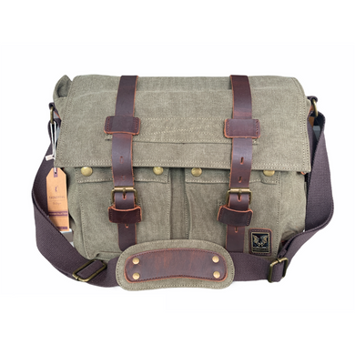 Tyrone Canvas & Leather Messenger Bag | Shoulder Bag - trendyful