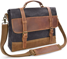 Load image into Gallery viewer, Saxon Waterproof Vintage Waxed Canvas Genuine Leather Laptop Bag 15 inch - trendyful