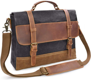 Saxon Waterproof Vintage Waxed Canvas Genuine Leather Laptop Bag 15 inch - trendyful