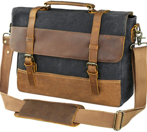 Saxon Waterproof Vintage Waxed Canvas Genuine Leather Laptop Bag 15 inch, Canvas Messenger Bag - trendyful