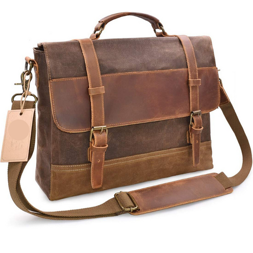 Waterproof Vintage Waxed Canvas Genuine Leather Laptop Bag 15.6 inch, Canvas Messenger Bag - trendyful