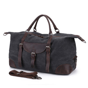 Leeston Canvas Leather Duffle Bag - trendyful