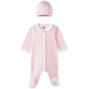 Baby Girls' Infant Footed Sleepers with Beanie Hat 3m