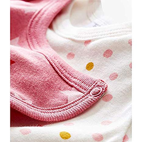 Petit Bateau Baby Girl's Footless Sleeper with detachable bib Marshmallow White/Multicolor