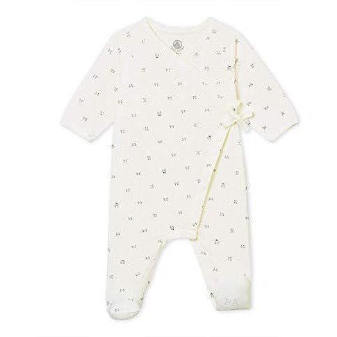 Petit Bateau Unisex Baby Footie - Crossover Opening White/Print - a1bebe