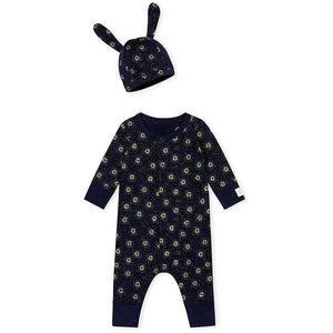 Petit Bateau Footless Overall + Hat - Unisex - Navy