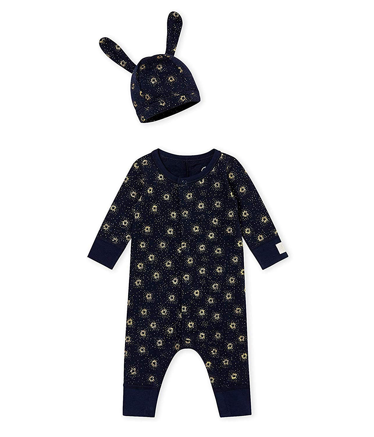 Petit Bateau 2 Pc Set, Navy and Metallic Sparked Print Romper with Hat (6m)