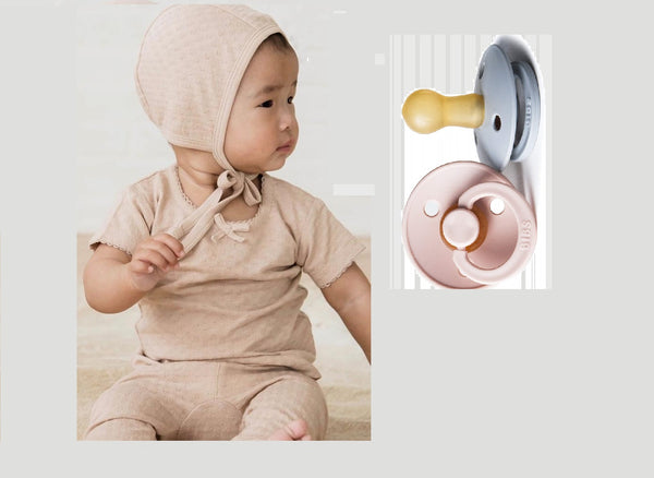 QUINCY MAE BABY POINTELLE ROSE BONNET + BIBS PACIFIER