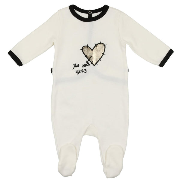 MON TRESOR IVORY IN MY HEART FOOTIE - a1bebe