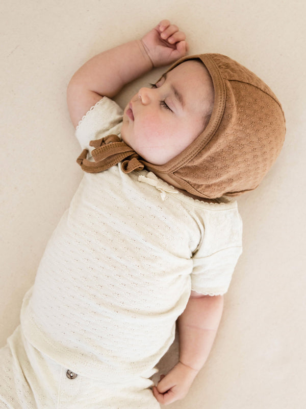 QUINCY MAE POINTELLE BABY BONNET | COPPER