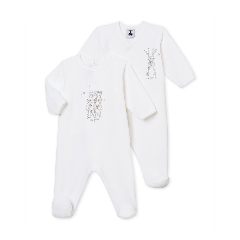 0adad7abe Petit Bateau 2 Pack White Infant Footed Pajamas for Girls and Boys with  Bunnies - a1bebe