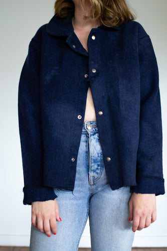 1940's Heavy Wool Navy Button Jacket Shirt