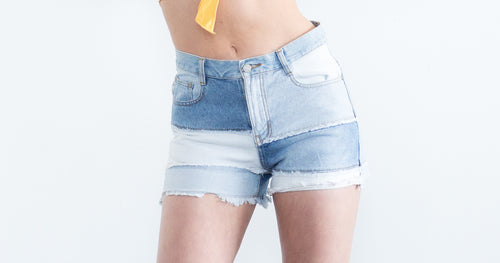 Denim Patched Worked Shorts