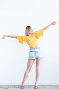Yellow Piñata Ruffle Shirt