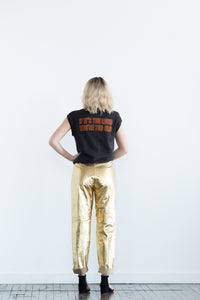 Genuine Leather Gold Pants