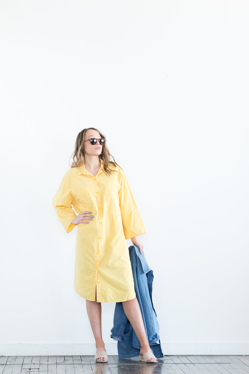 Double Double Pocketed Shirt Dress