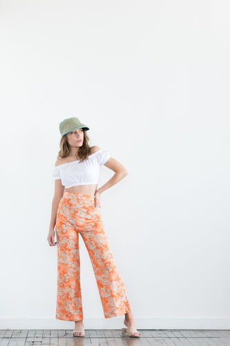 Orange Floral Quick Flare Pants