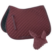 Horze All Purpose Saddle Pad & Ear Net w Crystals
