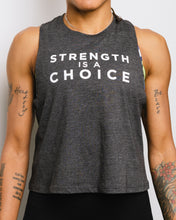 Load image into Gallery viewer, Strength is a Choice Racerback Cropped Tank