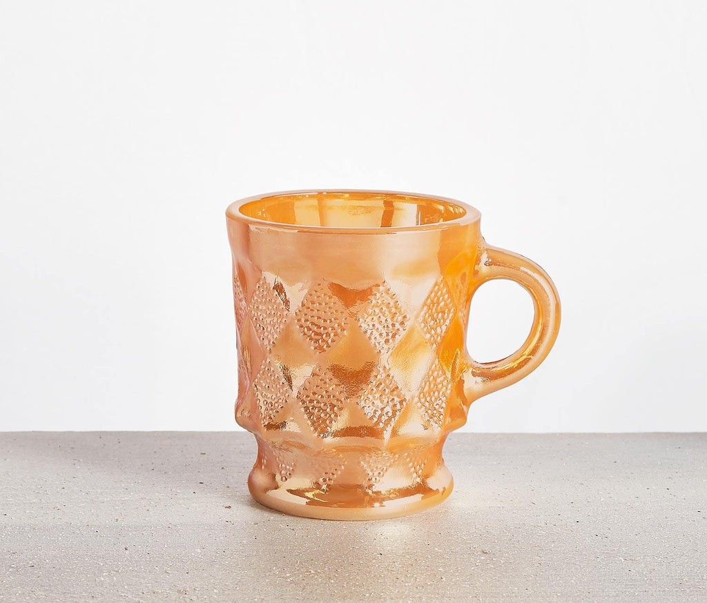 Fire King Peach Lustre Harlequin Mugs Set of 3 - lollygag