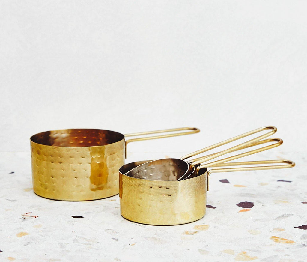 Hammered Gold& Silver Measuring Cups Set of 4 - lollygag