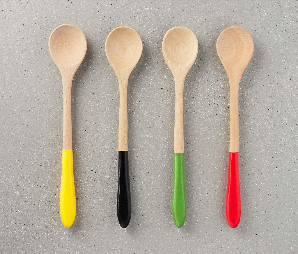 Hand- Carved Mango Wood Spoons w/ Color Dipped Handles: Set of 4 - lollygag