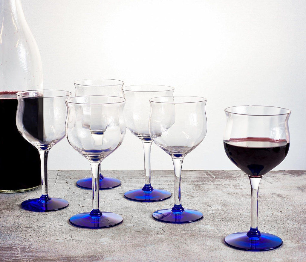 Hollywood Deco Small Wine Glass: Set of 6-Midnight Blue - lollygag
