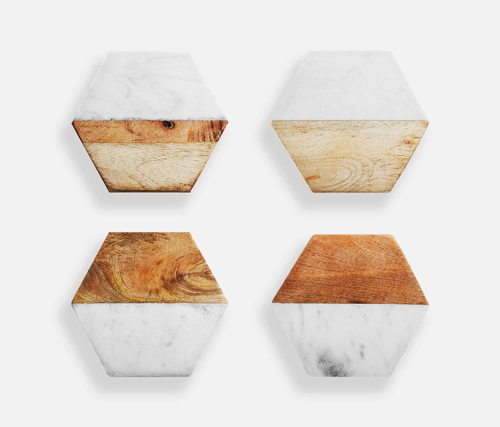 Marble & Mango Wood Hexagon Coasters: Set of 4 - lollygag