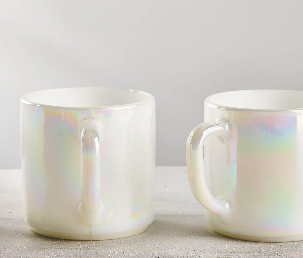 Moon-Glow Lustre Mugs: Vintage Federal Glass set of 3 - lollygag