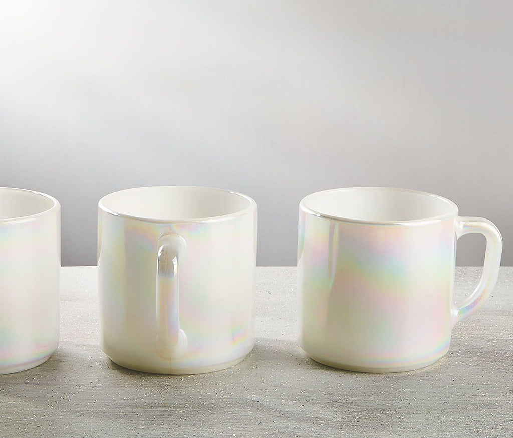Moon-Glow Lustre Mugs: Vintage Federal Glass set of 3