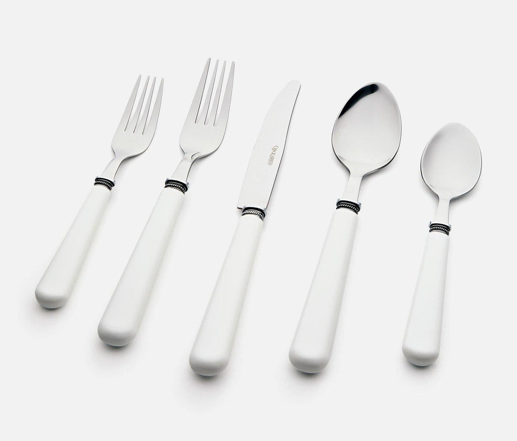 Provence 20-Piece Flatware Set with Caddy in Snow White - lollygag