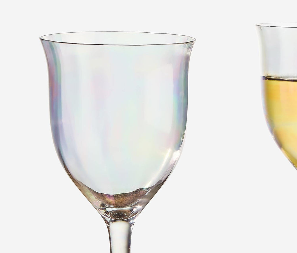 Rainbow Lustre Paneled Wine Glasses