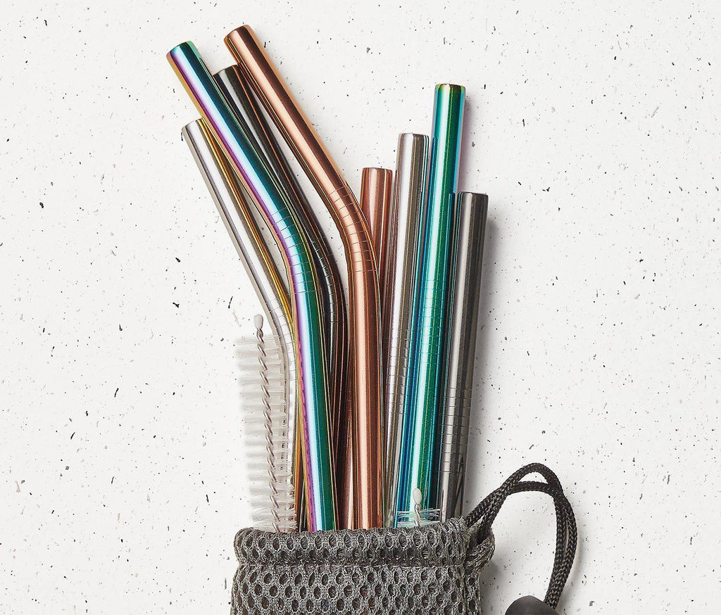 Reusable Rainbow Stainless Steel Drinking Straws : 10pc Set - lollygag