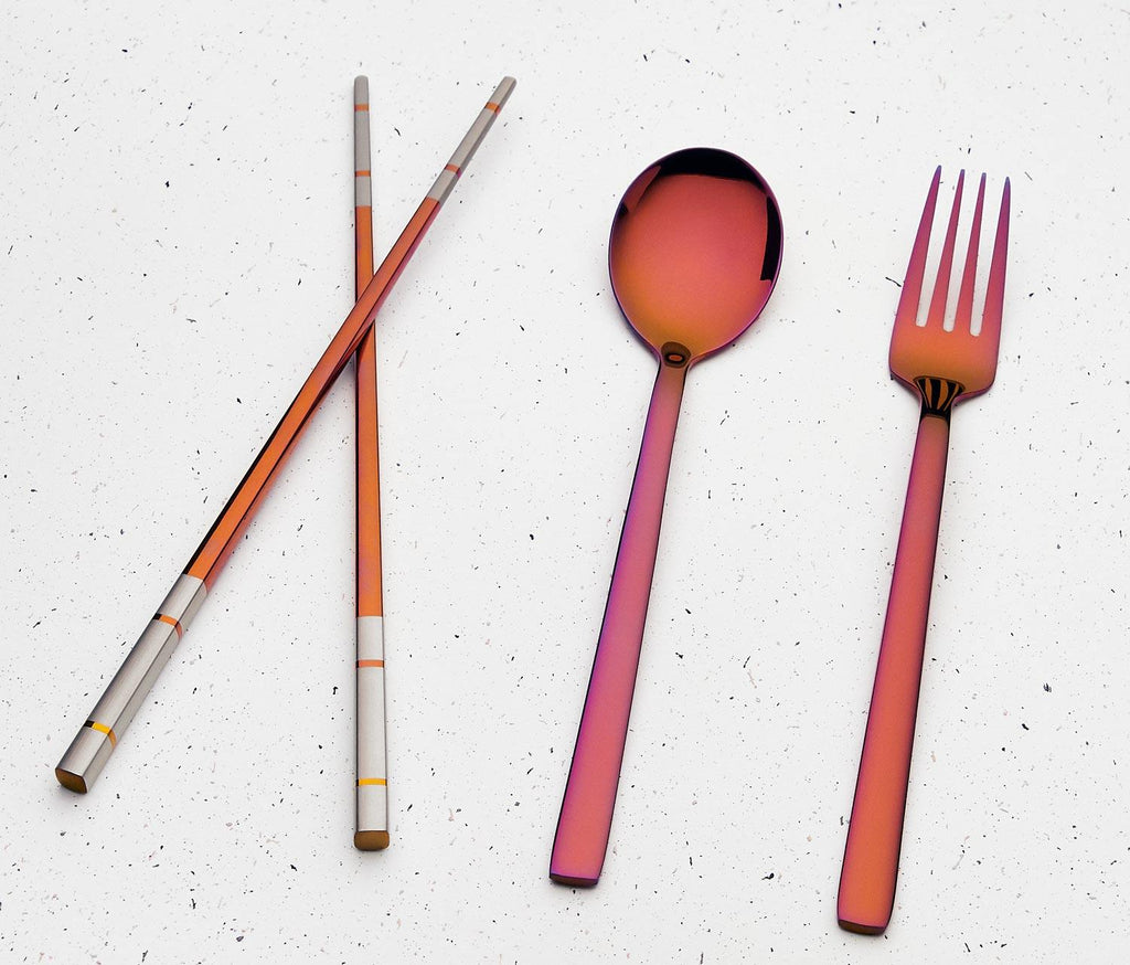 Zero Waste,Happy Place Travel Flatware Set: Ombre Sunset/ Blush