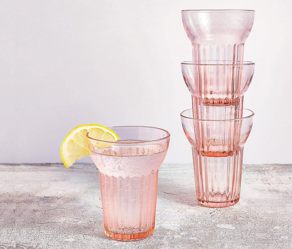 La Vie en Rose Tumbler Glasses: Set of 4 - Vintage Rose Pink - lollygag