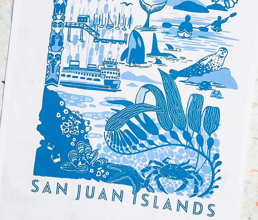 San Juan Islands Travel Tea Towel