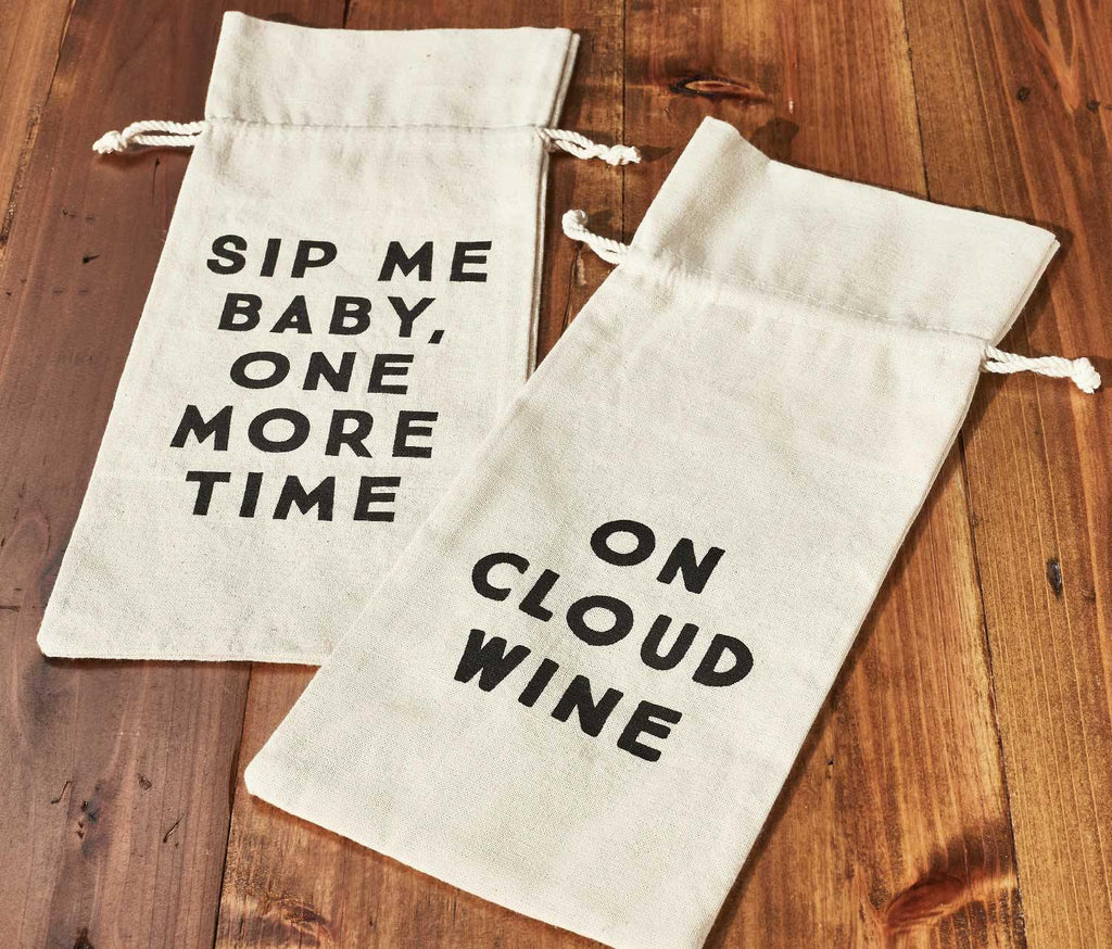 Say it Like You Mean It! Cotton Wine Message Bags -Set of 2 - lollygag