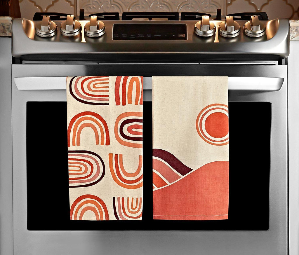 Solstice/ Retro Rainbow Kitchen Towels: Set of 2 - lollygag