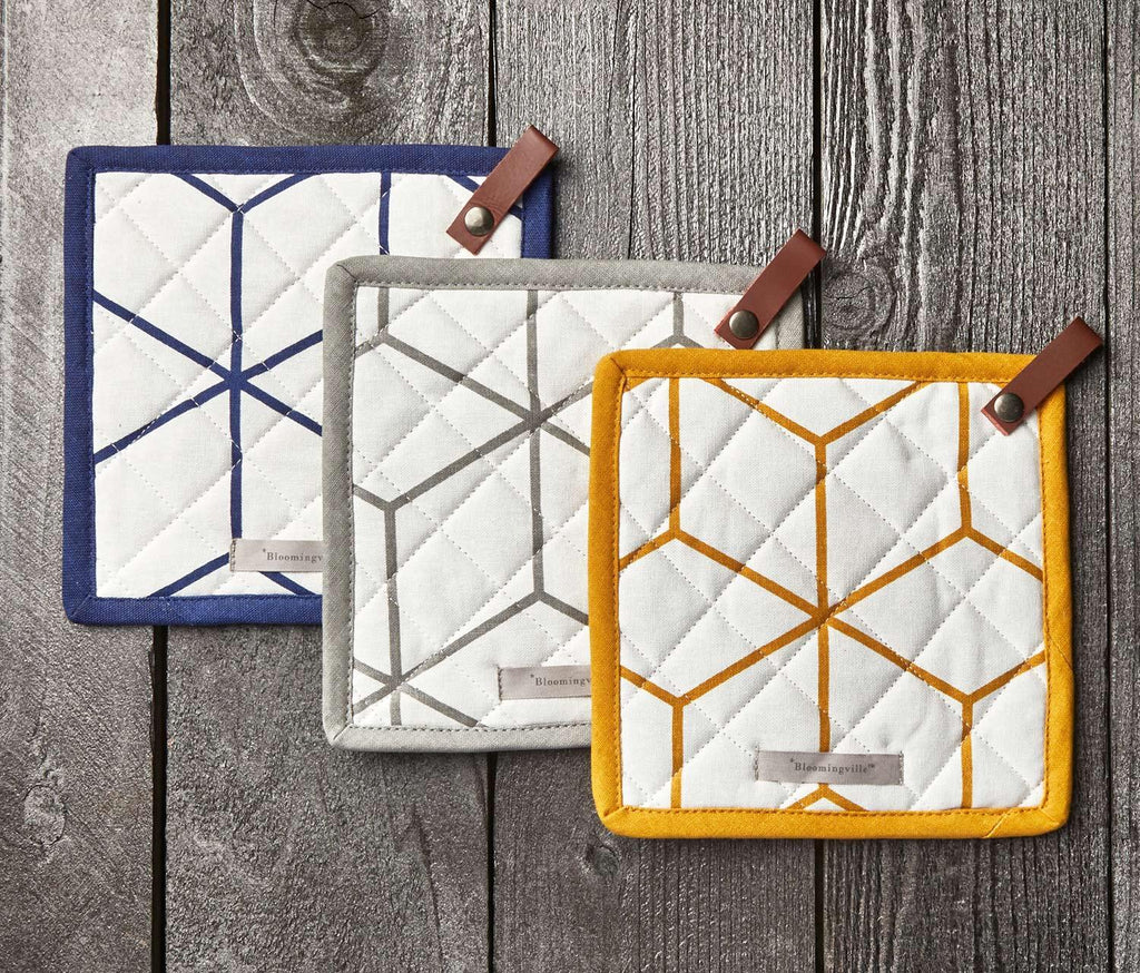 Square Cotton Pot Holder w/ Leather Loop, 3 Colors - lollygag